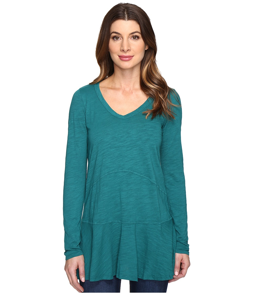 Mod-o-doc - Slub Jersey V-Neck Tunic w/ Flounce Hem (Vintage Teal) Women's Clothing