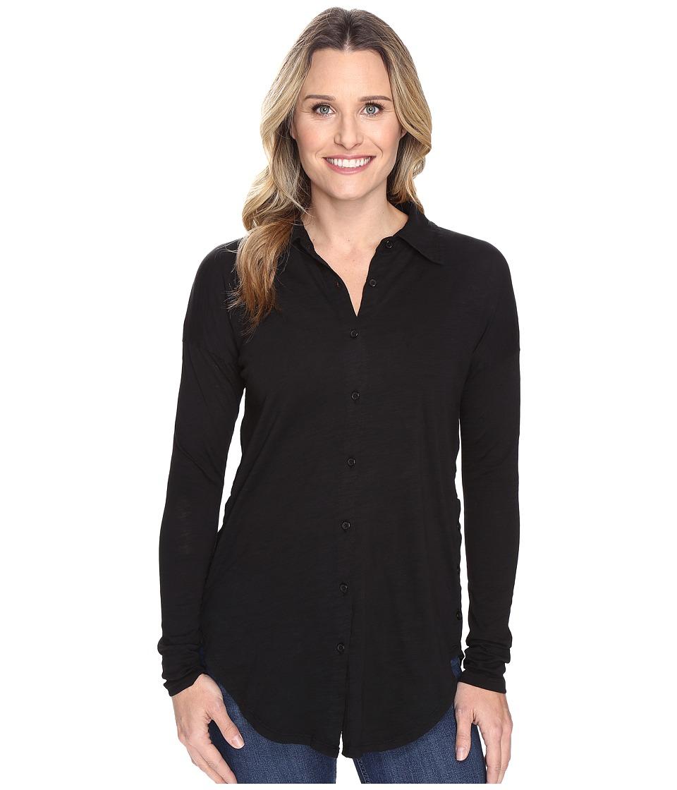 Mod-o-doc - Slub Jersey Drop Shoulder Side Button Shirt (Black) Women's Clothing