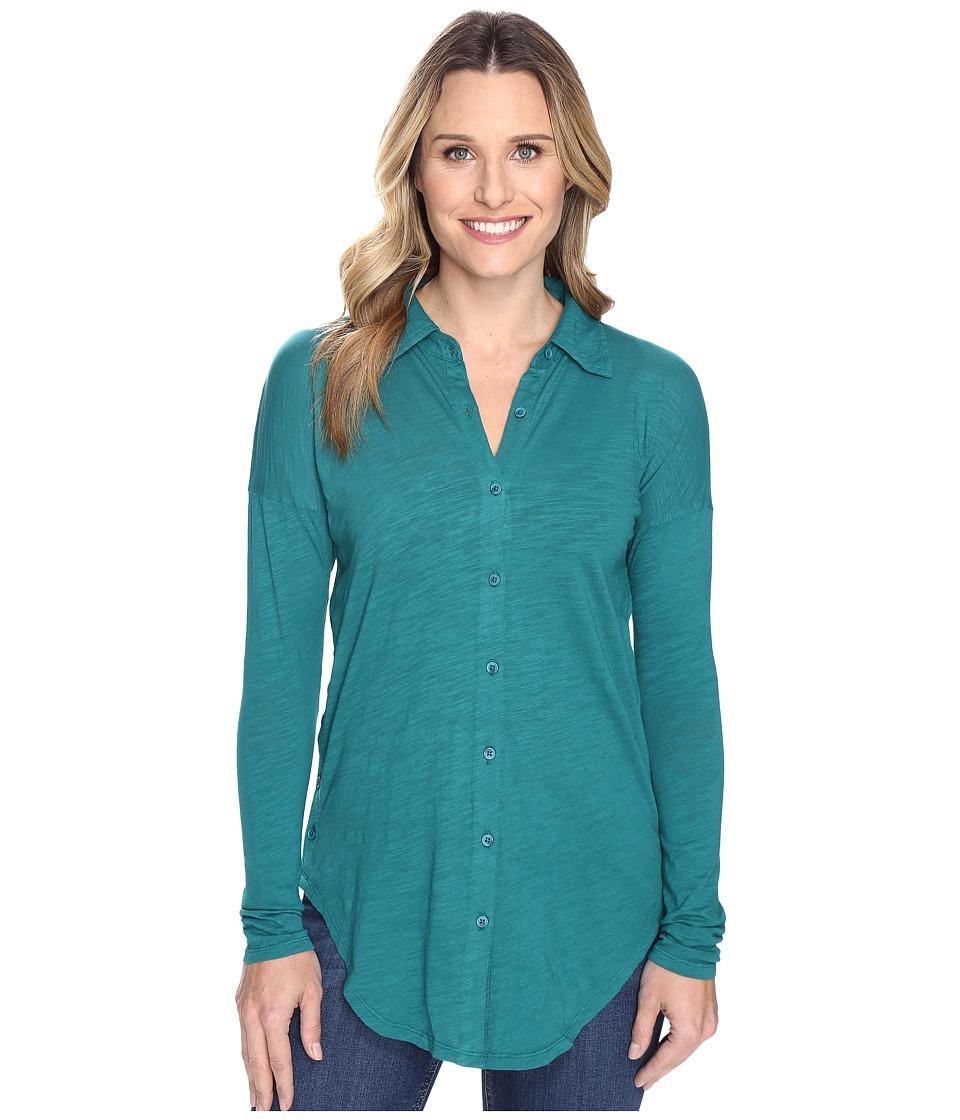 Mod-o-doc - Slub Jersey Drop Shoulder Side Button Shirt (Vintage Teal) Women's Clothing