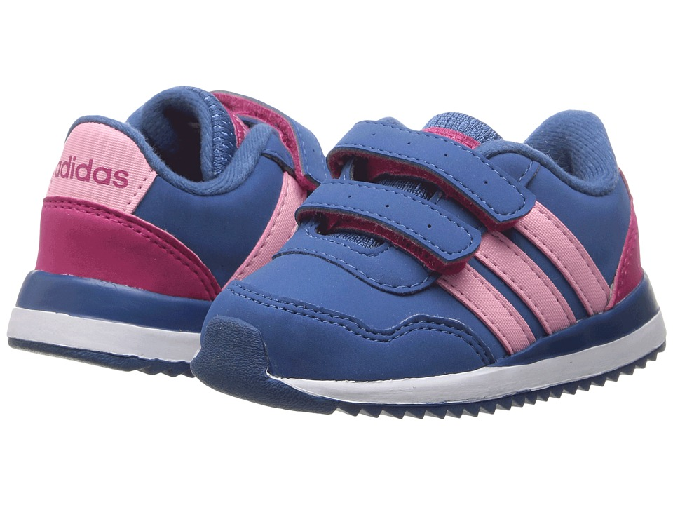 adidas Kids - V Jog CMF (Infant/Toddler) (Blue/Light Pink/Pink) Girls Shoes