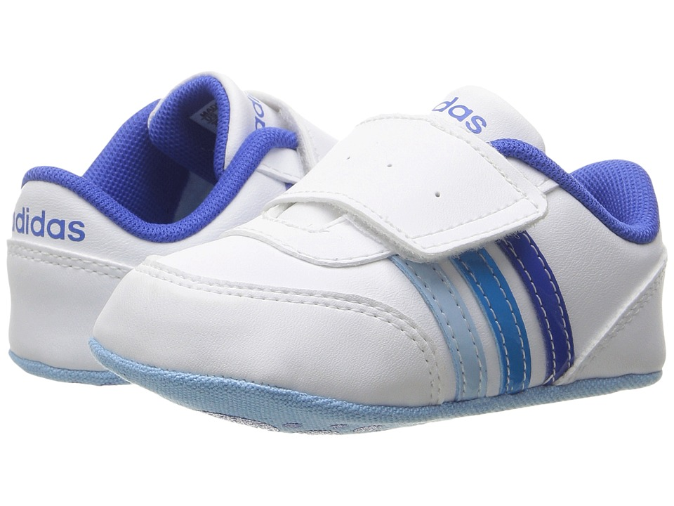 adidas Kids - V Jog Crib (Infant/Toddler) (White/Blue/Solar Blue 2) Boys Shoes