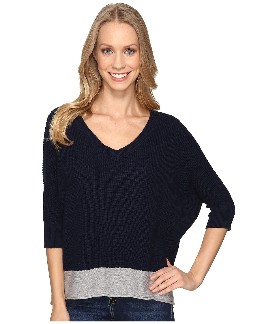 Mod-o-doc - Fully Fashion Sweater V-Neck Waffle Stitch Sweater (True Navy) Women's Sweater