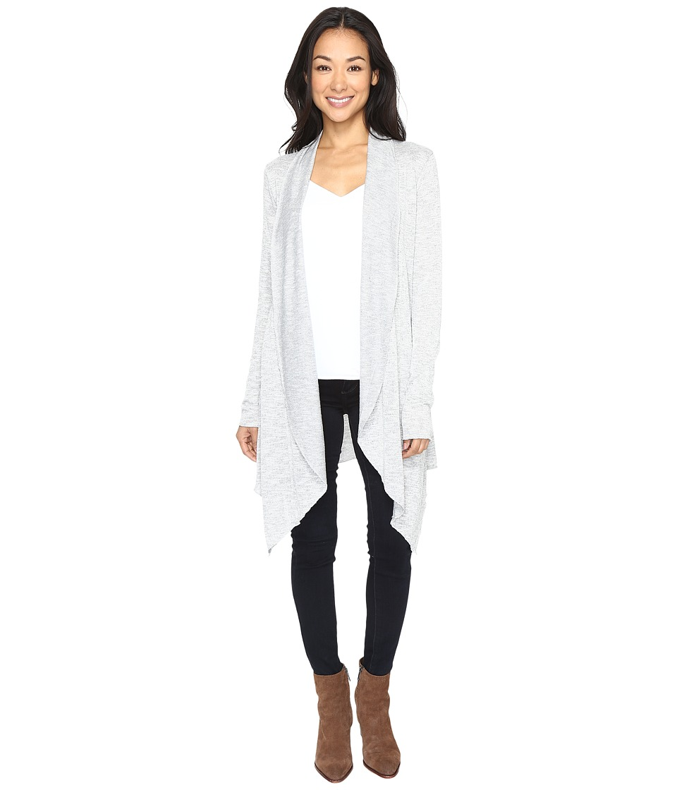 Mod-o-doc - Breezy Slub Sweater Draped Princess Seam Cardigan (Light Grey) Women's Sweater