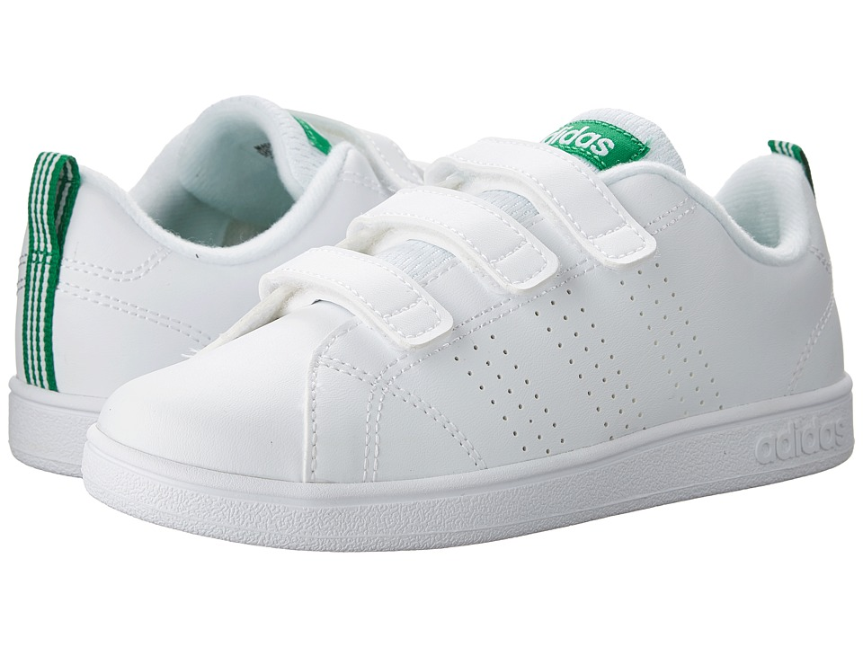 adidas Kids - VS Advantage Clean CMF (Little Kid) (White/Green) Kids Shoes