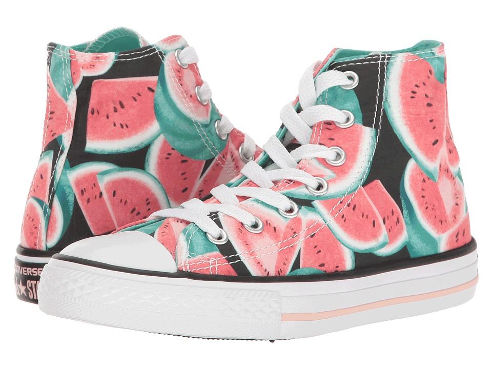 Converse Kids - Chuck Taylor All Star Hi (Little Kid/Big Kid) (Vapor Pink/Green Glow/White) Girl's Shoes