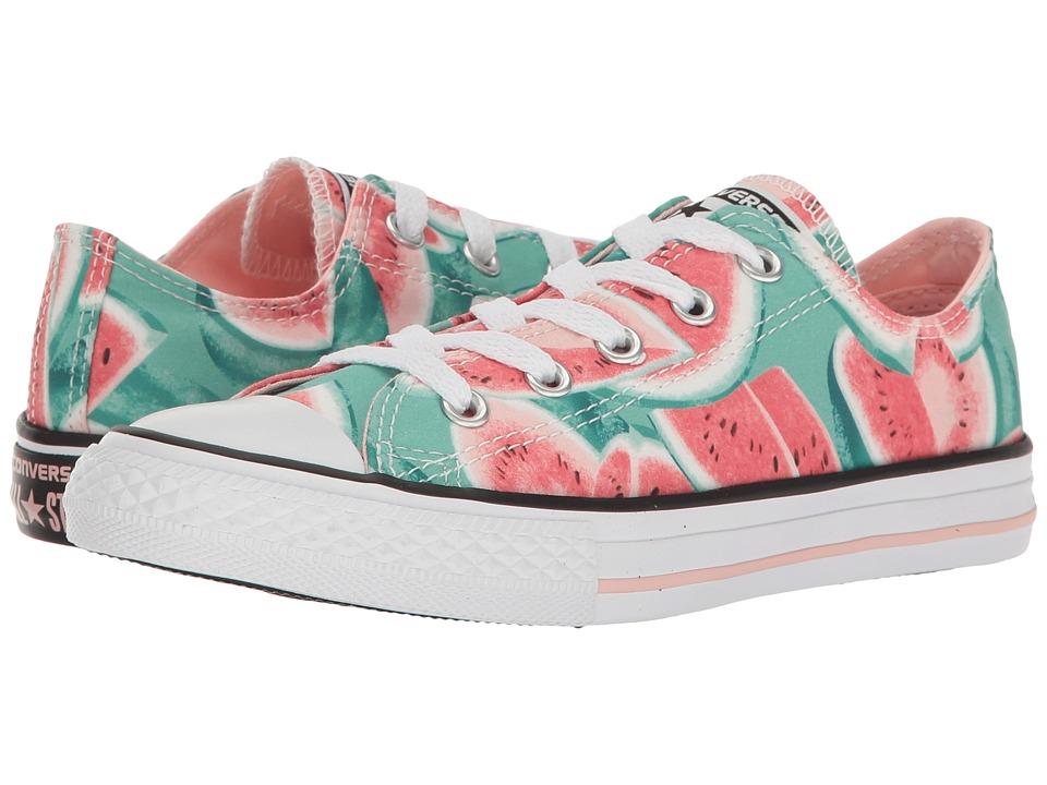 Converse Kids - Chuck Taylor All Star Ox (Little Kid/Big Kid) (Vapor Pink/Green Glow/White) Girl's Shoes