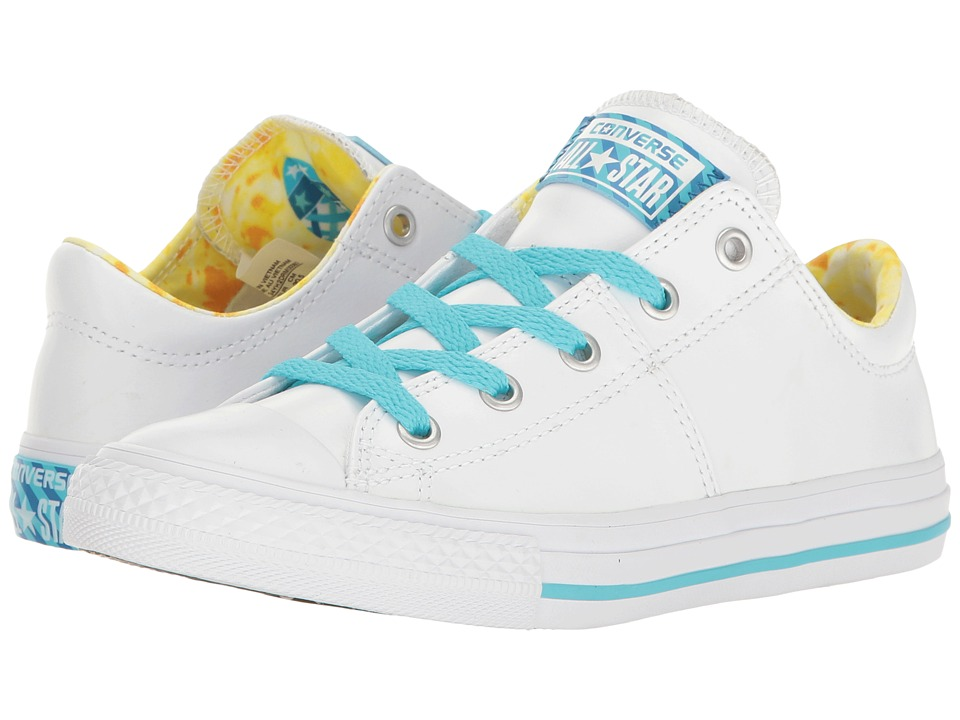 Converse Kids - Chuck Taylor All Star Madison Ox (Little Kid/Big Kid) (White/Lemon Haze/Fresh Cyan) Girl's Shoes