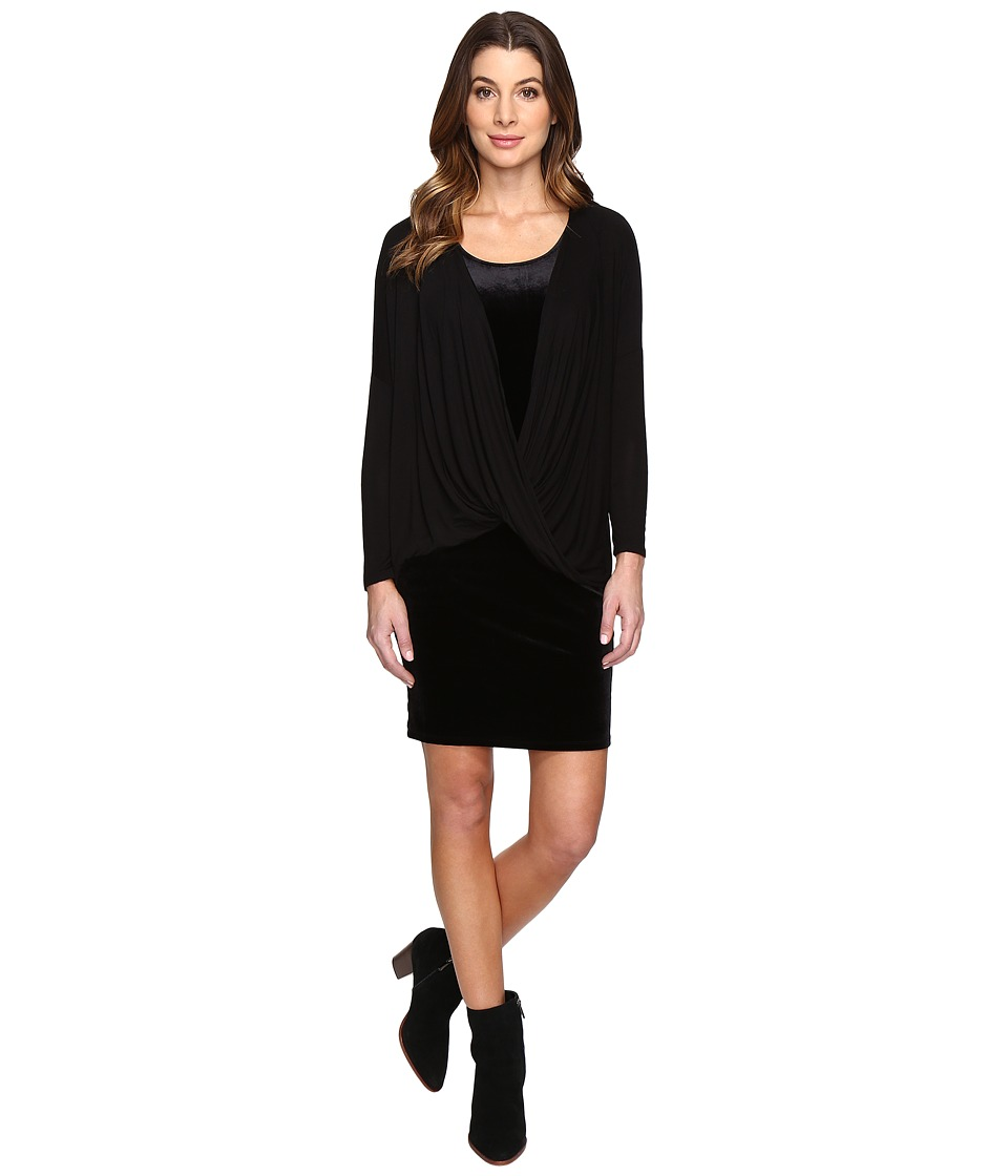 Mod-o-doc - Stretch Velvet Double Layer Twist Front Dress (Black) Women's Dress