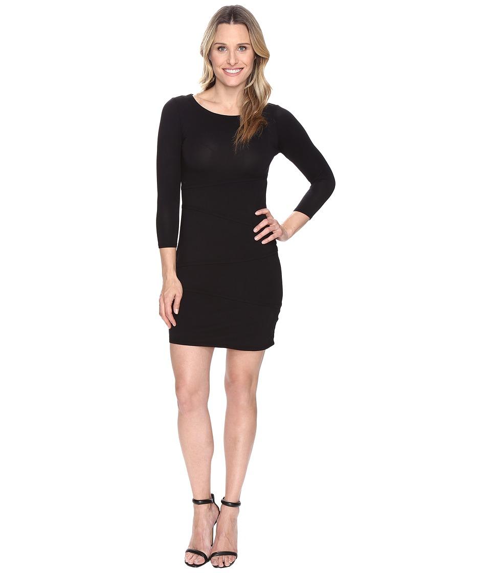 Mod-o-doc Cotton Modal Spandex Jersey 3/4 Sleeve Asymmetrical Tiered Dress (Black) Women