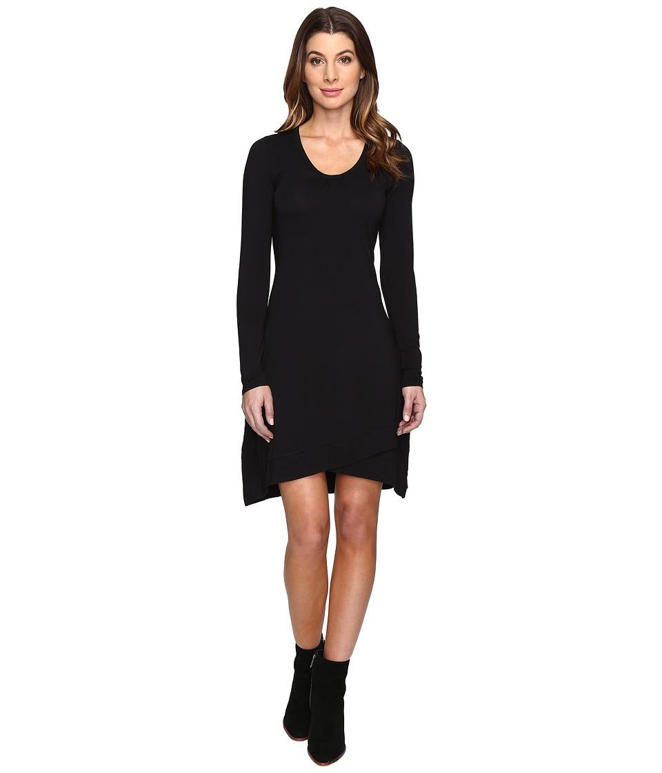 Mod-o-doc Cotton Modal Spandex Jersey Crossover Hem Dress (Black) Women