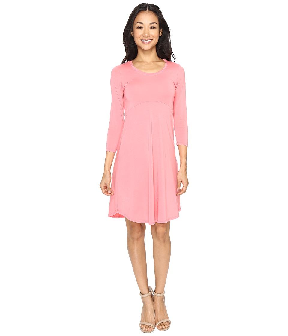 Mod-o-doc - Cotton Modal Spandex Jersey Crescent Empire Seam Dress (Guava) Women's Dress