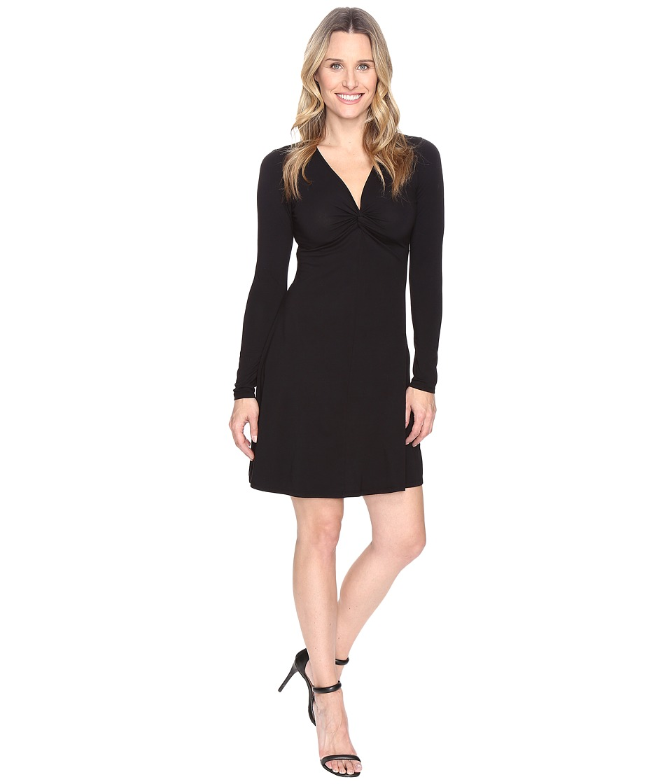Mod-o-doc - Cotton Modal Spandex Jersey Twist Front Empire Seamed Dress (Black) Women's Dress