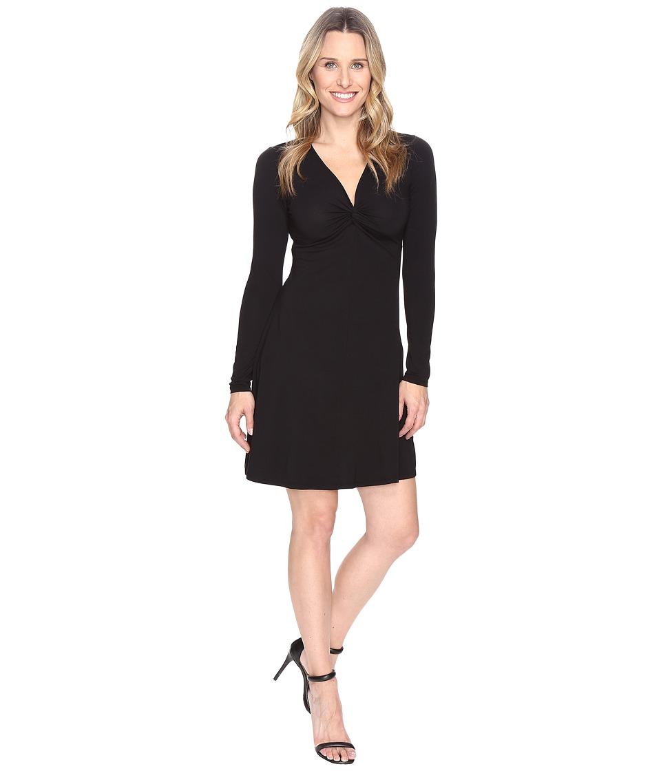 Mod-o-doc Cotton Modal Spandex Jersey Twist Front Empire Seamed Dress (Black) Women