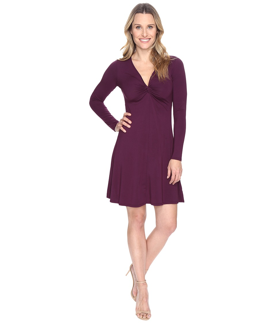 Mod-o-doc - Cotton Modal Spandex Jersey Twist Front Empire Seamed Dress (Spiced Plum) Women's Dress