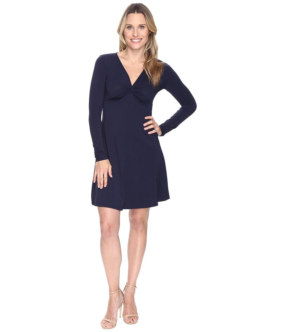 Mod-o-doc - Cotton Modal Spandex Jersey Twist Front Empire Seamed Dress (True Navy) Women's Dress