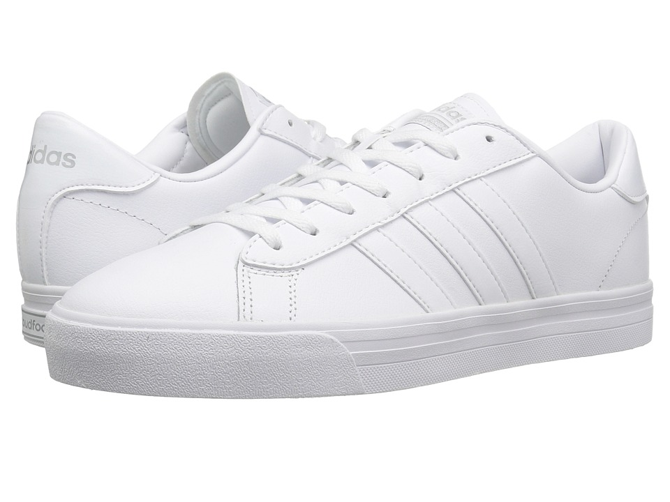 adidas - Cloudfoam Super Daily Leather (White/Silver) Men's Skate Shoes