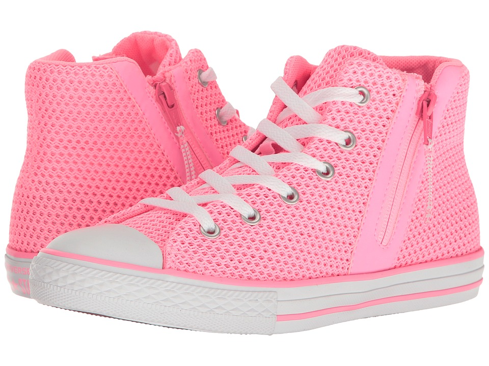 Converse Kids - Chuck Taylor All Star Sport Zip Hi (Little Kid/Big Kid) (Pink Glow/Neo Pink/White) Girl's Shoes
