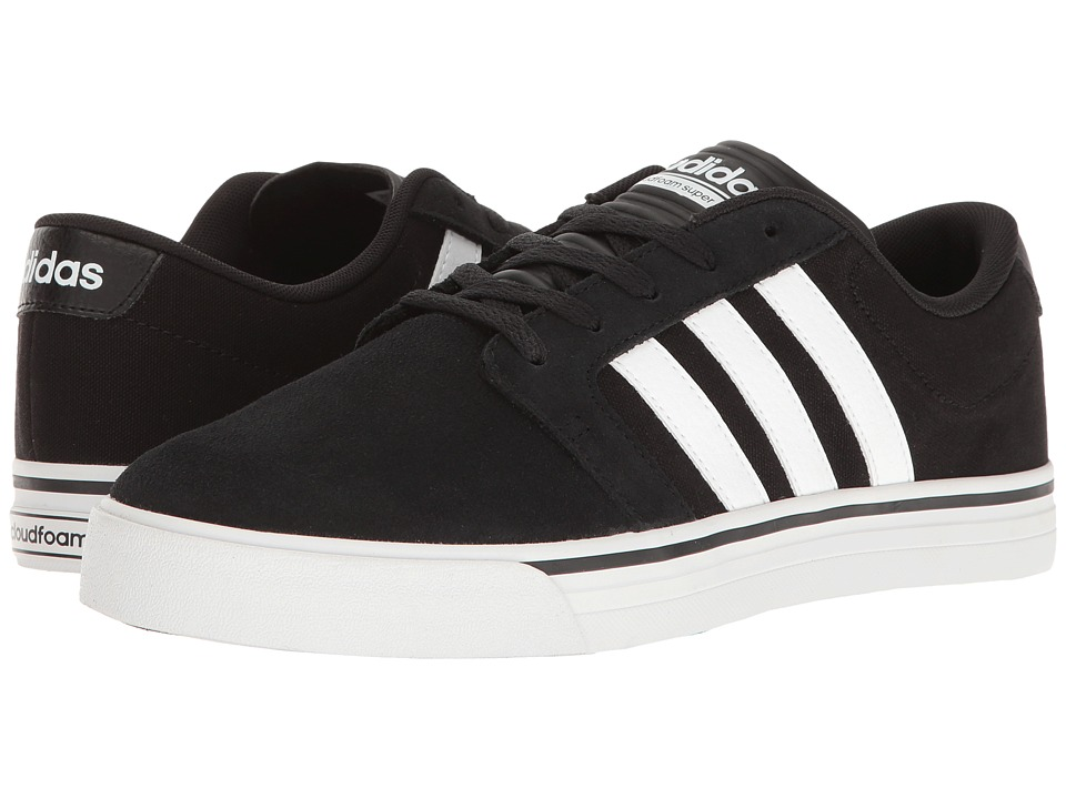 adidas - Cloudfoam Super Skate (Black/White/Intense Lime) Men's Skate Shoes