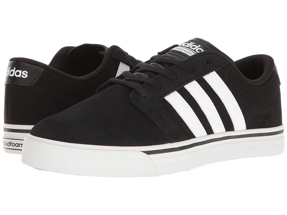 adidas - Cloudfoam Super Skate (Black/White/Intense Lime) Men's Skate Shoes