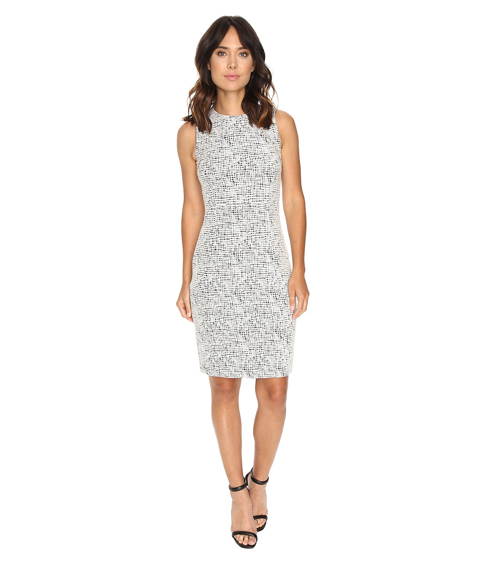 Calvin Klein - Textured Sheath Dress w/ Zip at Shoulder (Soft White/Black Combo) Women's Dress