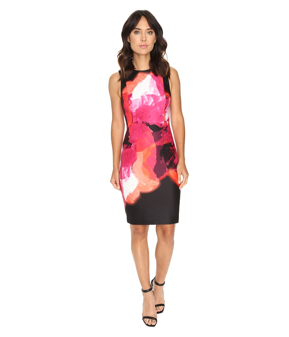 Calvin Klein - Sleeveless Printed Sheath Dress (Ember/Black) Women's Dress