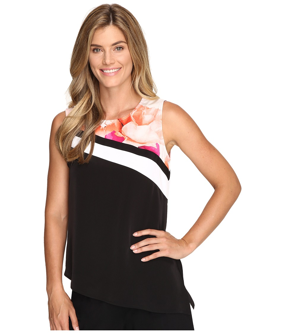 Calvin Klein - Sleeveless Angled Bottom Top w/ Print (Soft White Multi) Women's Sleeveless