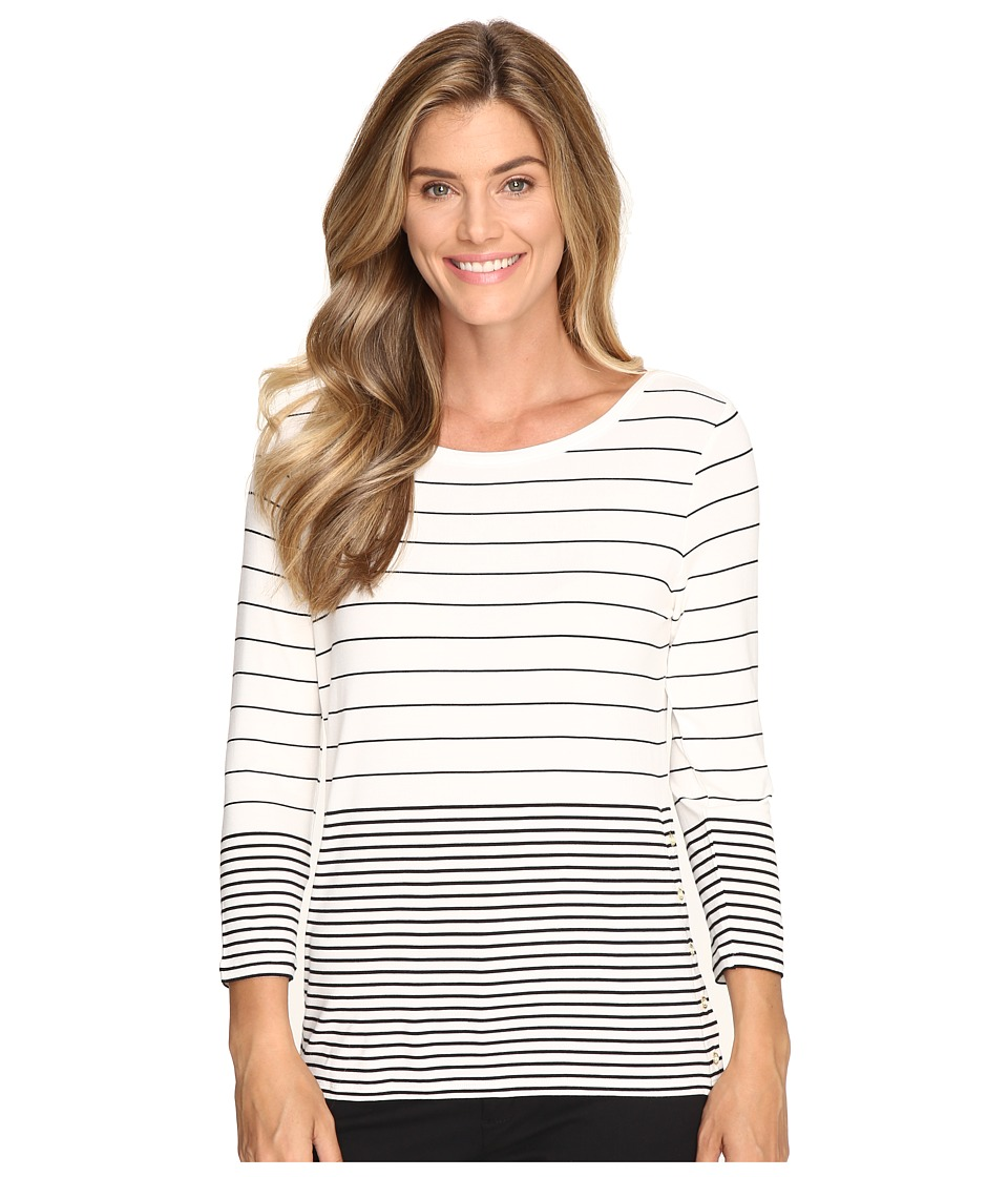 Calvin Klein - 3/4 Sleeve Mixed Stripe Top (White/Black Multi) Women's Long Sleeve Pullover