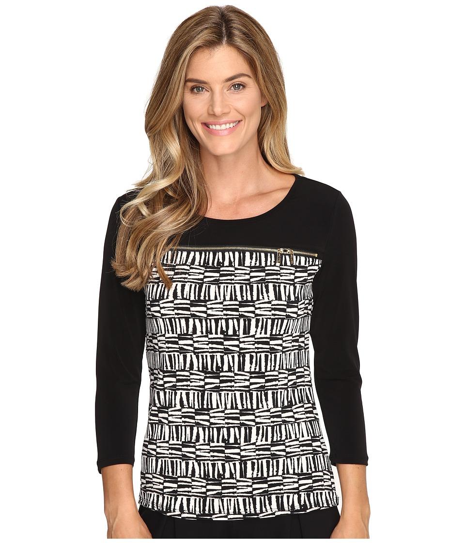 Calvin Klein - Long Sleeve Top w/ Horizontal Zips (Latte/Soft White Multi) Women's Long Sleeve Pullover