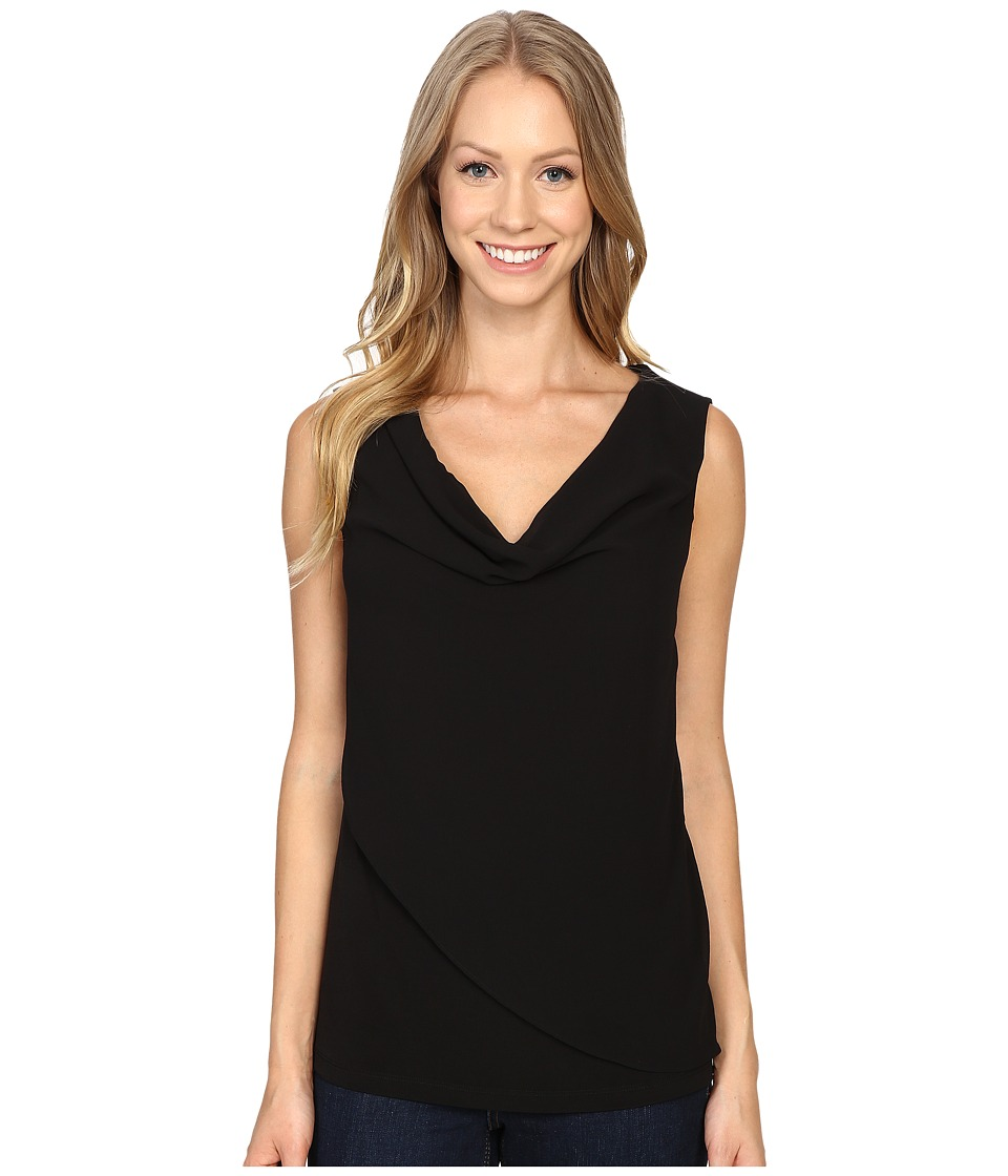 Calvin Klein - Sleeveless Top w/ Chiffon Wrap (Black) Women's Sleeveless