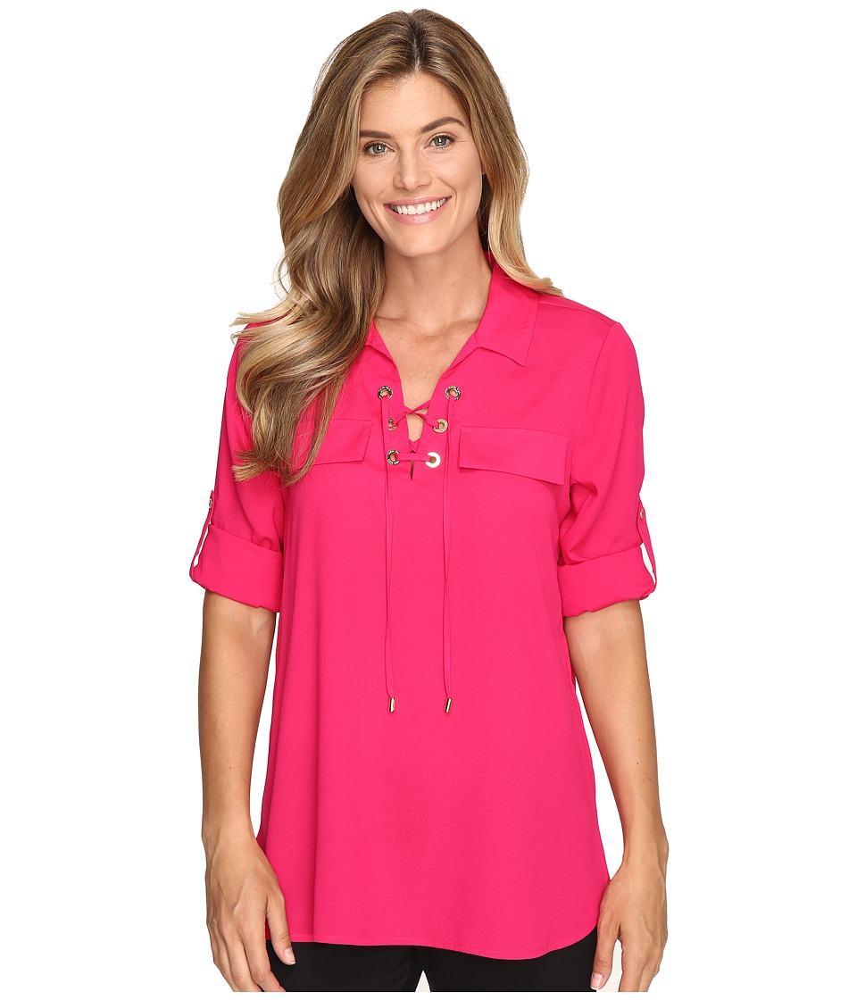 Calvin Klein - Lace Up Roll Sleeve (Winter Rose) Women's Blouse