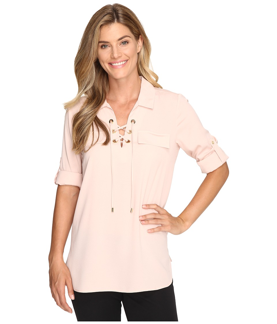 Calvin Klein - Lace Up Roll Sleeve (Blush) Women's Blouse