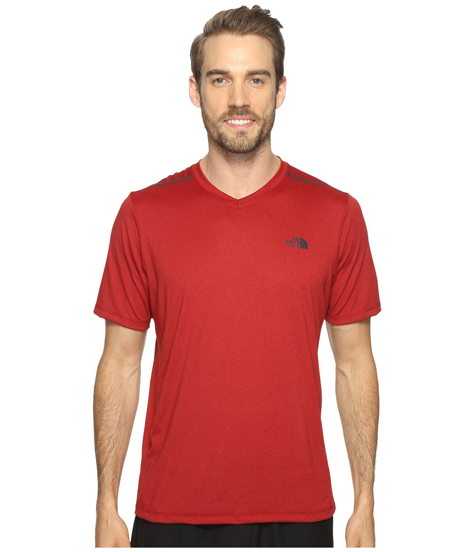 The North Face Reactor Short Sleeve V-Neck (Cardinal Red Heather) Men