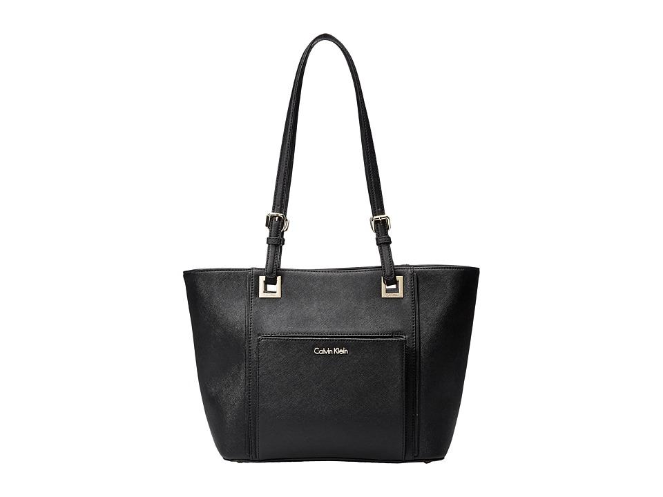 Calvin Klein - Eliza Saffiano Tote (Black/Gold) Tote Handbags
