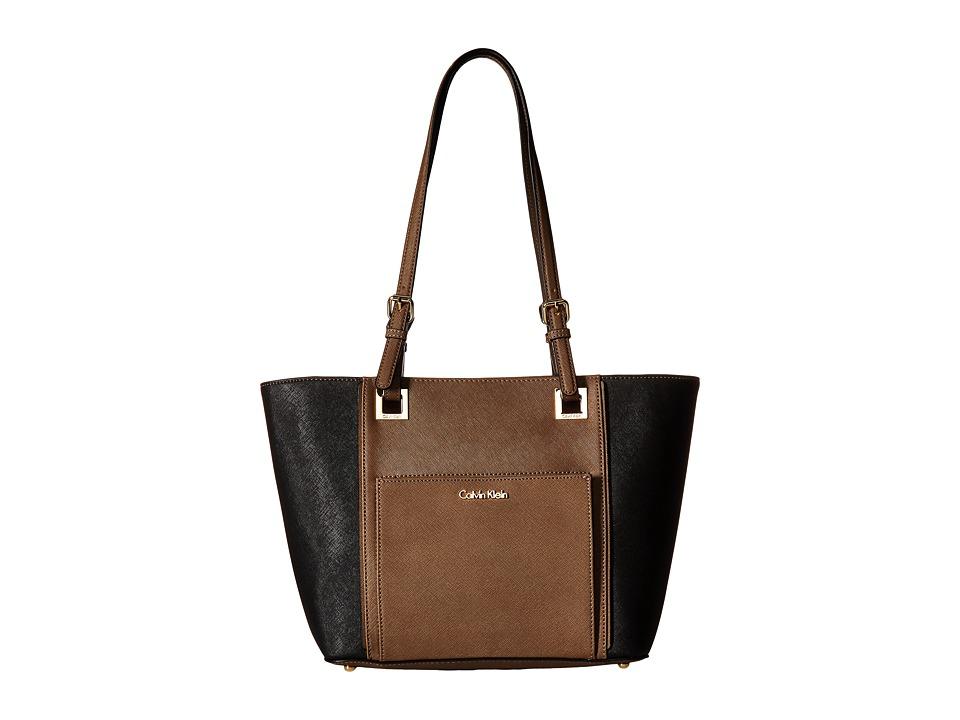 Calvin Klein - Eliza Saffiano Tote (Dark Taupe/Black) Tote Handbags