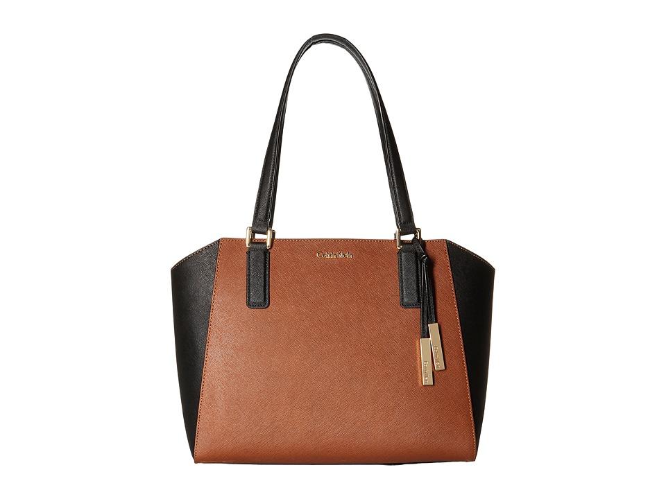 Calvin Klein - Key Items Saffiano Tote (Luggage/Black) Tote Handbags