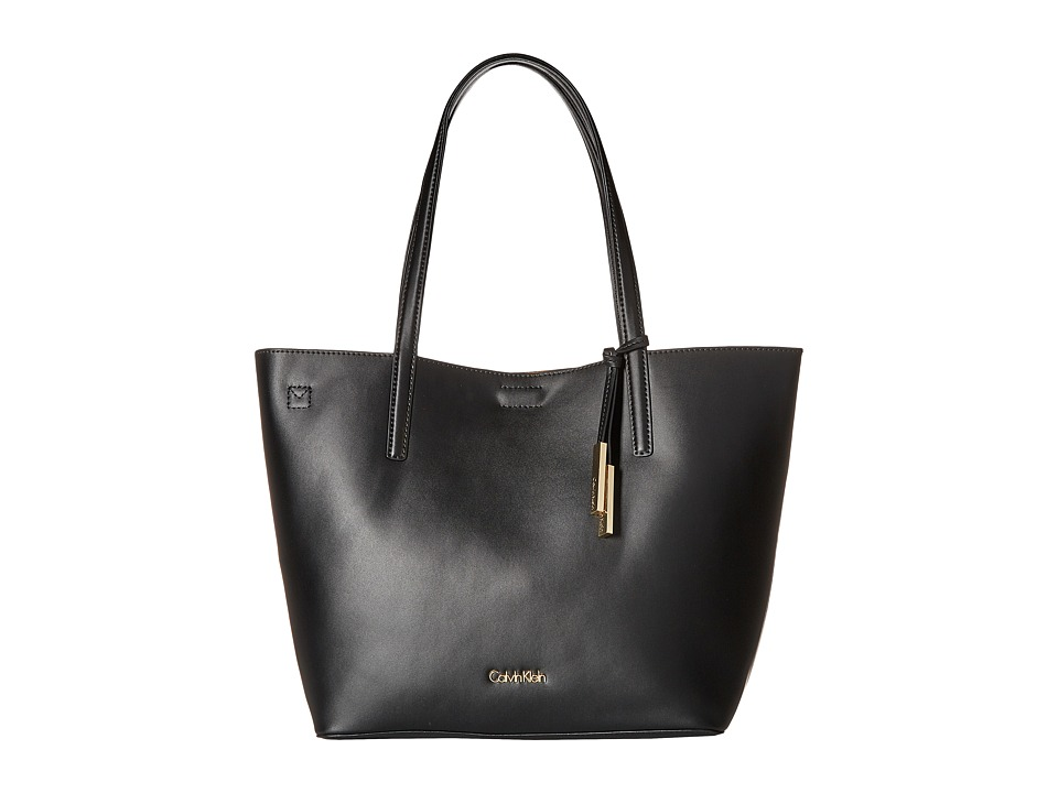 Calvin Klein - Key Items Smooth Leather Tote (Black/Nutmeg) Tote Handbags
