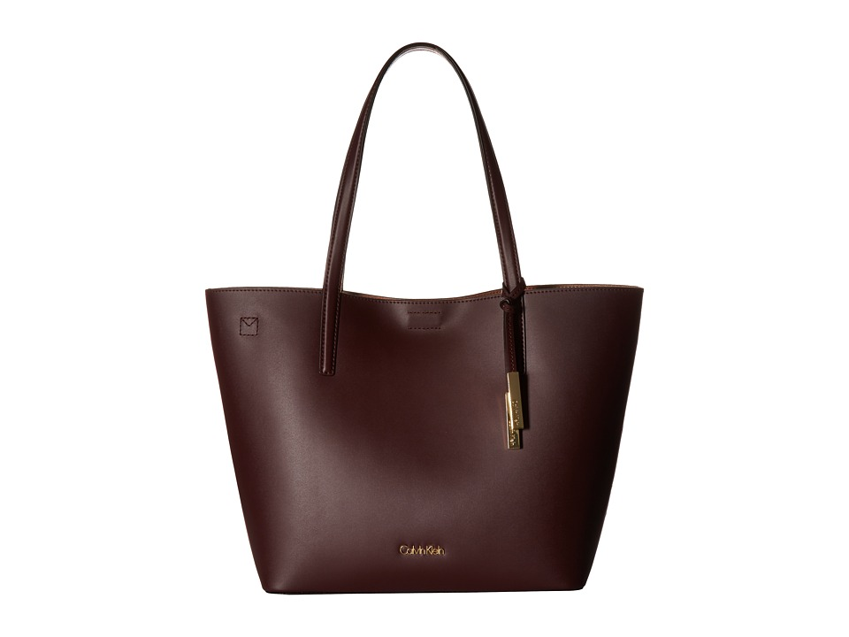 Calvin Klein - Key Items Smooth Leather Tote (Rum Raisin/Deep Blush) Tote Handbags