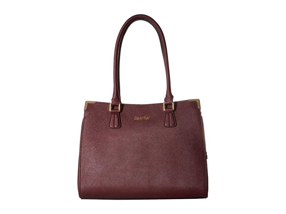 Calvin Klein - On My Corner Saffiano Leather Satchel (Rum Raisin) Tote Handbags