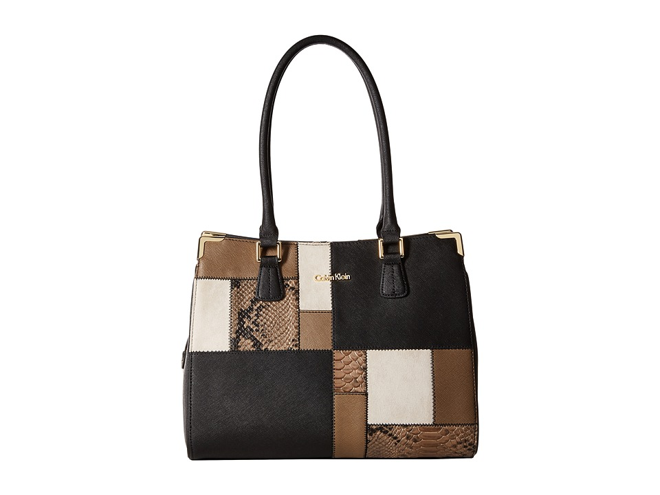 Calvin Klein - On My Corner Saffiano Patchwork Tote (Black/Khaki Snake Patch) Tote Handbags