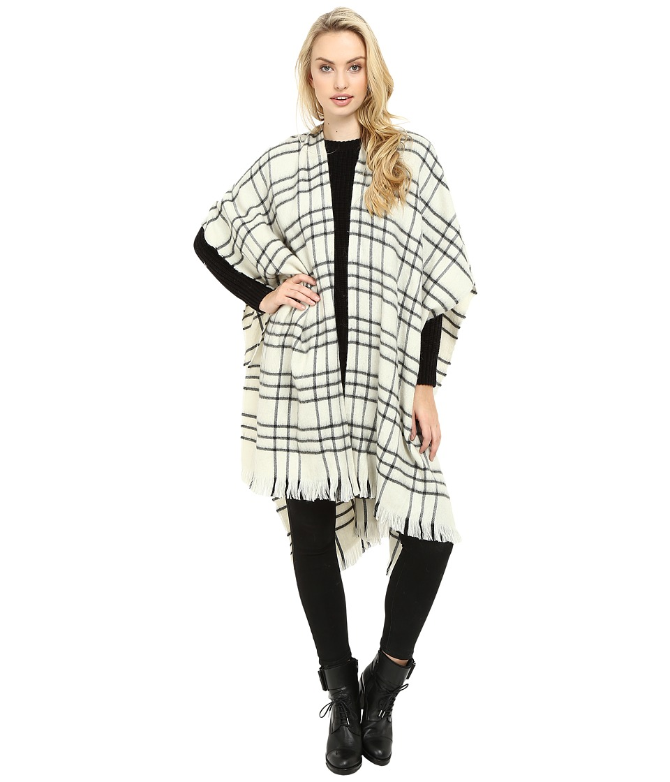 Echo Design - Long Woven Check Ruana (Black) Women's Clothing