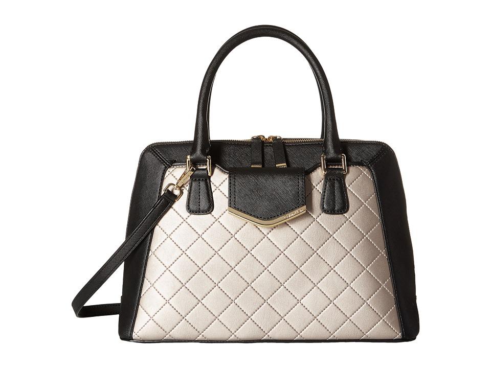 Calvin Klein - On My Corner Saffiano/Quilted Fara Satchel (Black/Metallic Taupe Quilt) Satchel Handbags