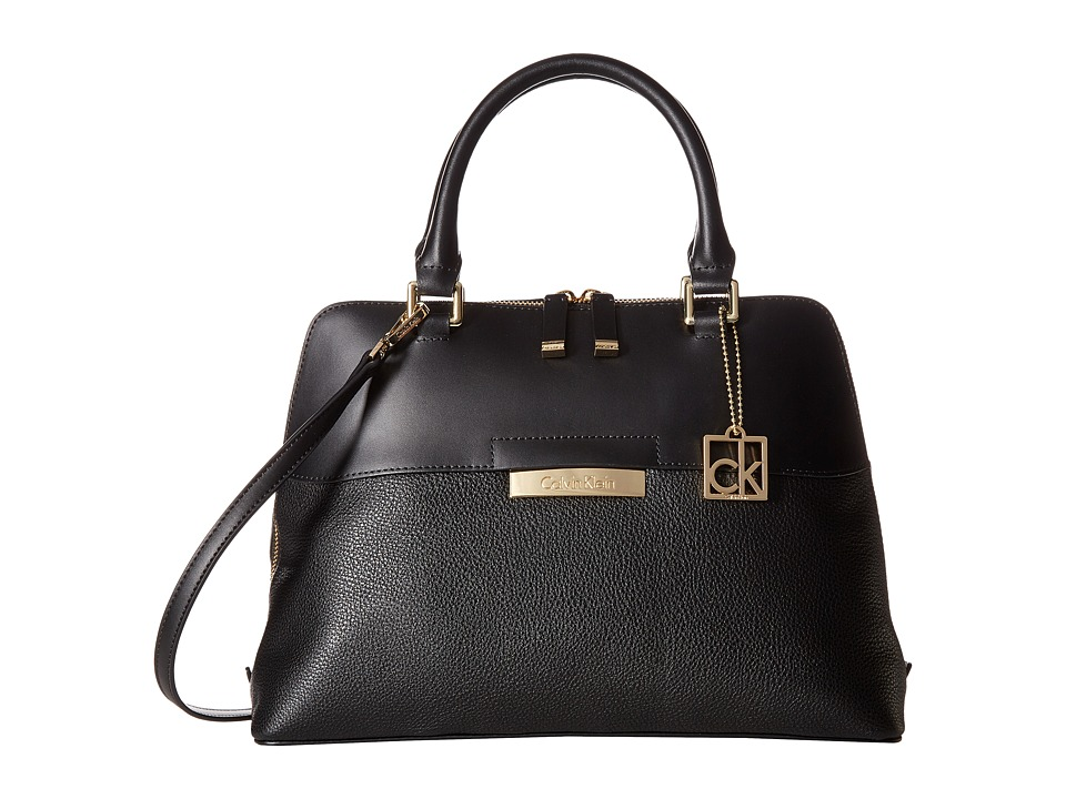Calvin Klein - Rowan Pebble Satchel (Black/Gold) Satchel Handbags