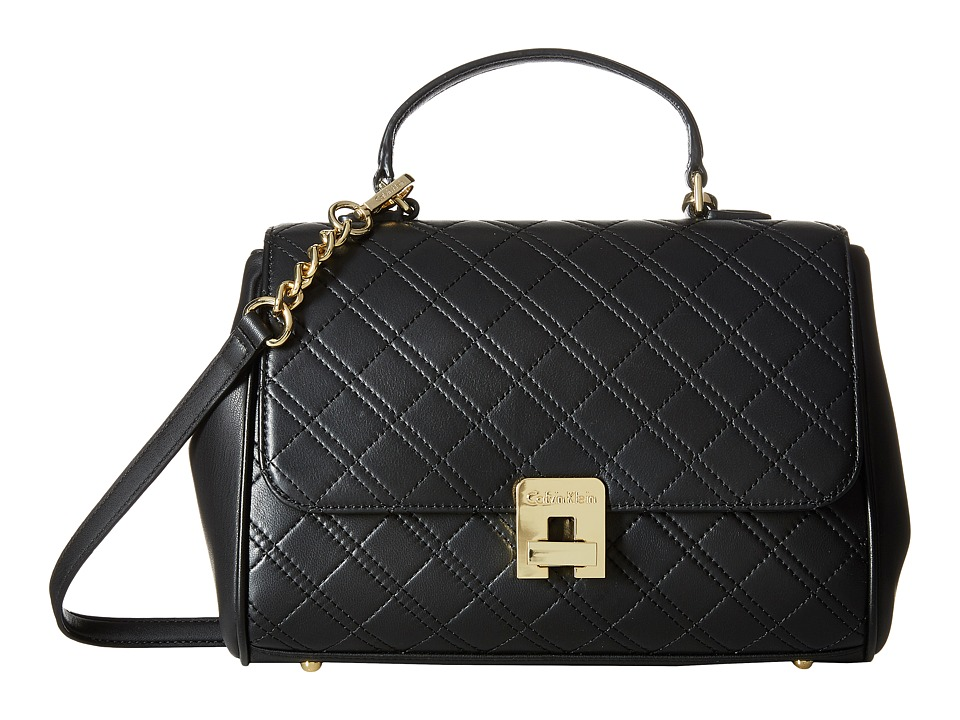 Calvin Klein - Permanent Quilted Lamb Satchel (Black/Gold) Satchel Handbags