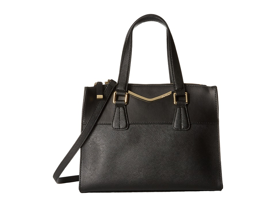 Calvin Klein - On My Corner Saffiano Satchel (Black/Gold 1) Satchel Handbags