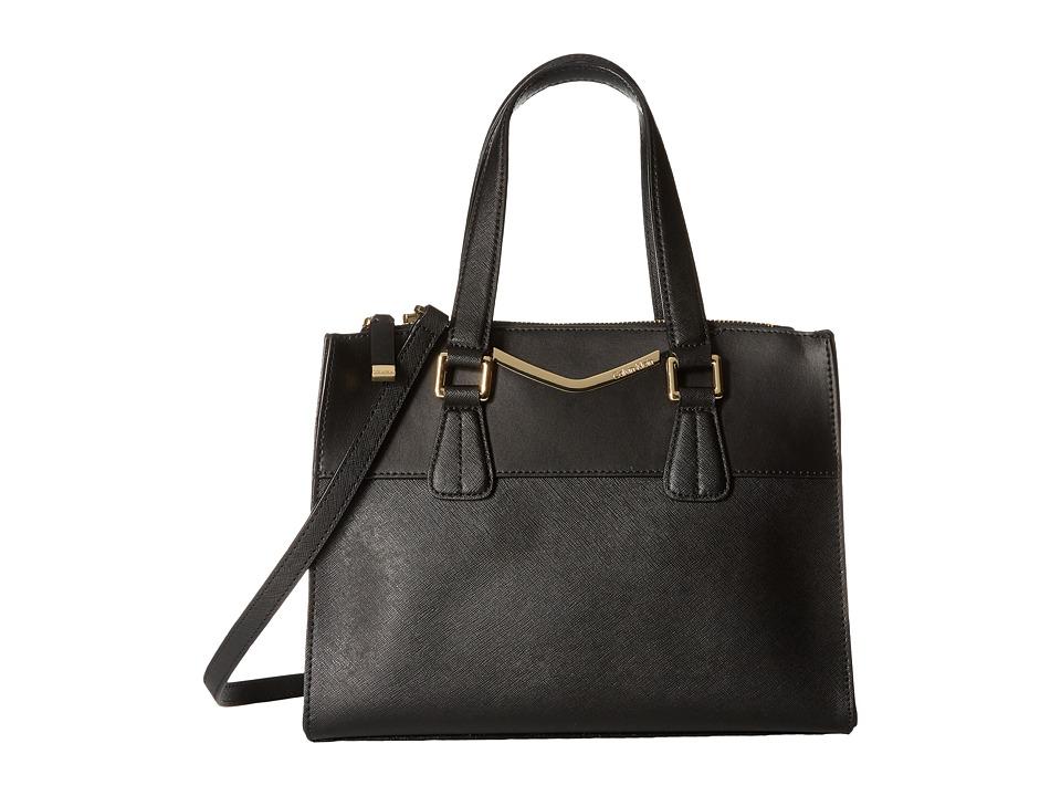 Calvin Klein - On My Corner Saffiano Satchel (Black/Gold 1) Satchel Handbags