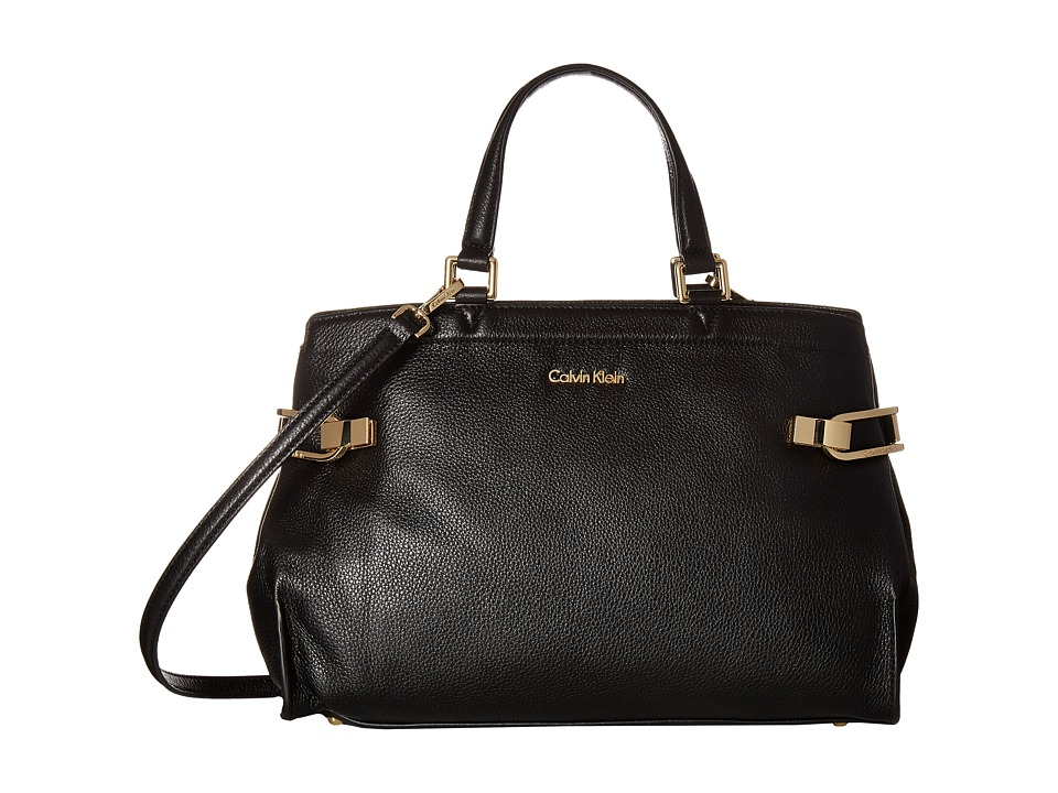Calvin Klein - Pinnacle Pebble Leather Satchel (Black/Gold) Satchel Handbags