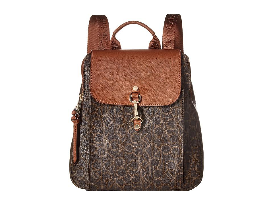 Calvin Klein - Hudson Monogram Backpack (Brown/Khaki/Luggage) Backpack Bags