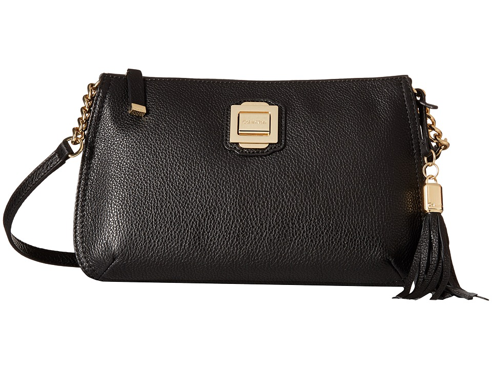 Calvin Klein - Elana Pebble Crossbody (Black/Gold) Cross Body Handbags