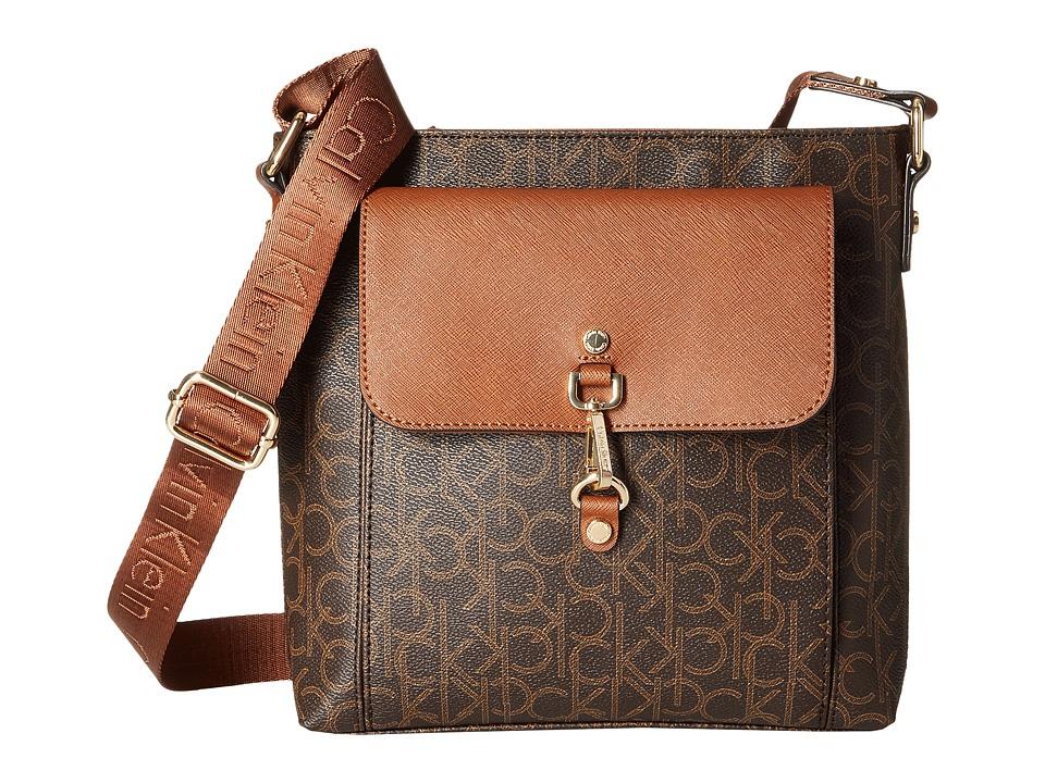 Calvin Klein - Hudson Monogram Messenger (Brown/Khaki/Luggage) Messenger Bags