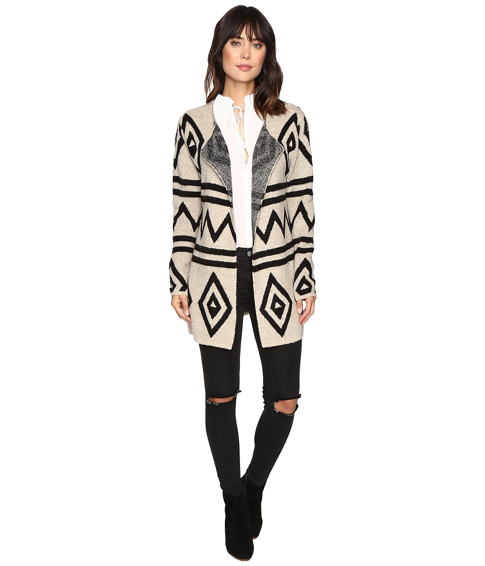 Brigitte Bailey - Mae Fuzzy Geometric Cardigan (Beige/Black) Women's Sweater